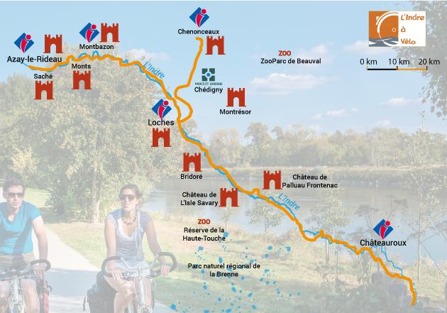 Carte de l'itinéraire de véloroute de l'Indre à Vélo. L'itinéraire est l'un des plus beaux parcours du pays, les itinéraires cyclables vélos du territoire passent par une route près de la mairie à coté du parc à Tours, des bois situés dans la vallée de la Loire et des eglises comme celle de la basilique Saint-Martin de Tours, Saint-Grégoire des minimes et Saint-Etienne. Sur le parcours de l'itinéraire (itina du chamina), vous pourrez effectuer une location de vélos comme un VTT afin de faire une randonnée sur les plus belles route du pays visitant parc et jardin de Tours.
