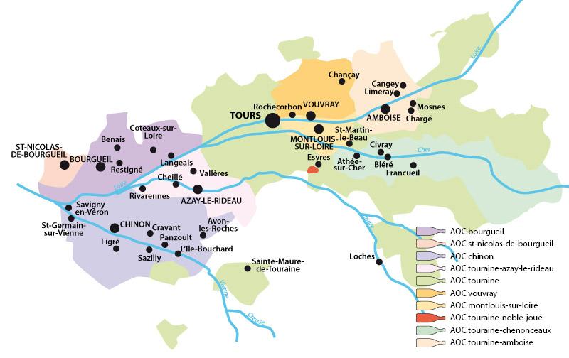 Vignobles de Touraine (France) et production de vin AOC - Terroirs des pays de Vouvray, Chinon, Bourgueil, produisant du vin français. Vigne et vignoble sont indissociables du paysage.