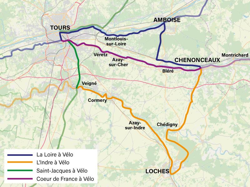 Boucles autour de l'itinéraire Coeur de France à vélo