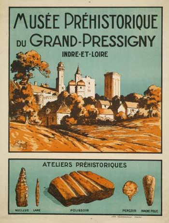 Affiche du musée de la Préhistoire du Grand-Pressigny. A voir : l'origine et la taille des silex de tout type, leur formation, via des échantillons, de l'analyse de données, des figures, de la recherche, eur...