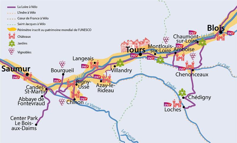 Carte de la Loire à vélo en Touraine - L'eurovelo 6 dans la vallée de la Loire, classée à l'unesco. Pers